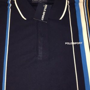 Polo Sport Black, Yellow, Blue, and White Shirt